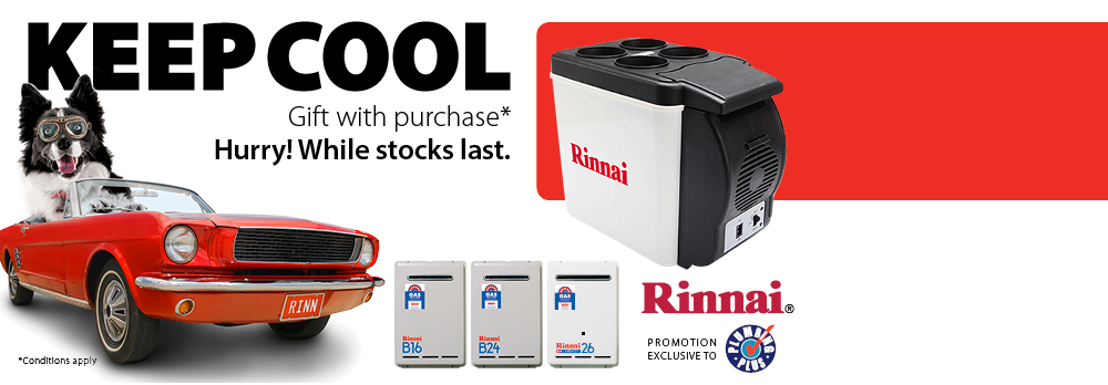 Receive a bonus gift with Rinnai continuous hot water